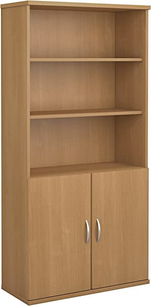 Bush Business Furniture Series C 36W 5 Shelf Bookcase With Doors In Light Oak