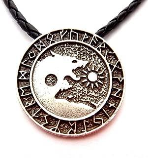 Wolf Yinyang Viking Runes Pendant Black Cord Necklace Fenrir Skoll Sun Hati Moon Wolves yin yang