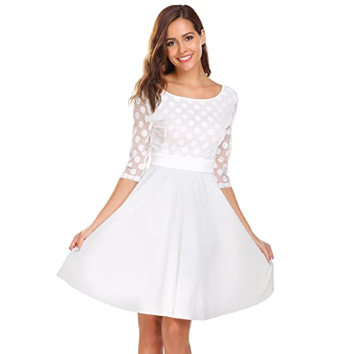 1c7e7dfd2e ELESOL Women Mesh Sleeve See Through Polka Dot A Line Flare Dress