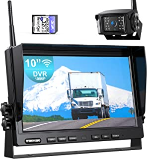 """$259 » Fookoo 1080P 10"""" Wireless Backup Camera System, 10"""" Dual/Quad Split Monitor with Recording, IP69 Waterproof Rear View Came..."""