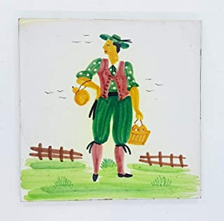Mattonella artistica Sottopentola Linea Capri Dimensioni cm.15 x 15 Ceramica Handmade Le Ceramiche del Castello Nina Palom...