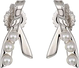 Romance 3 mm Pearls Post CZ Sterling Silver Earrings