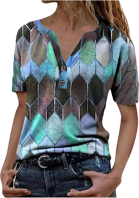 KAMEMIR Womens Tshirt Summer Sexy, Shirt for Women Graphic T Shirt Short Sleeve Printed Casual Summer Tee Tops