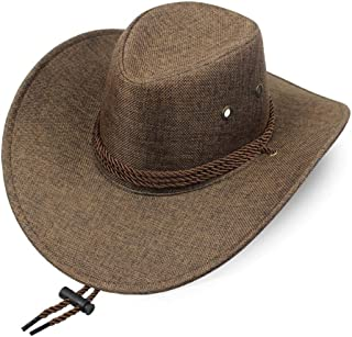 Vadeytfl Sun Visor Straw Hat Summer Seaside Beach Hat Western Cowboy Hat Breathable Sun Hat with Chin Band (Color : Coffee)