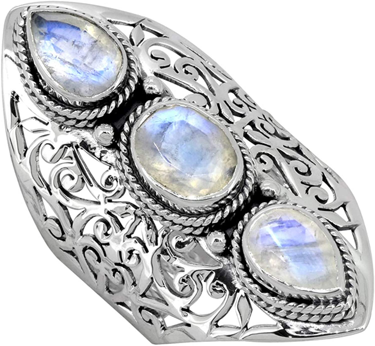 YoTreasure Max 89% OFF Moonstone Solid Max 51% OFF 925 Sterling Stone Jewe Ring 3 Silver