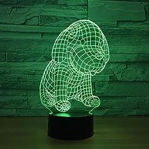 Nueva idea LED Acrílico 3d Noche Cachorro Modelado Interfaz USB Regalo personal LED Luz nocturna Interruptor táctil remoto Lámpara 3D