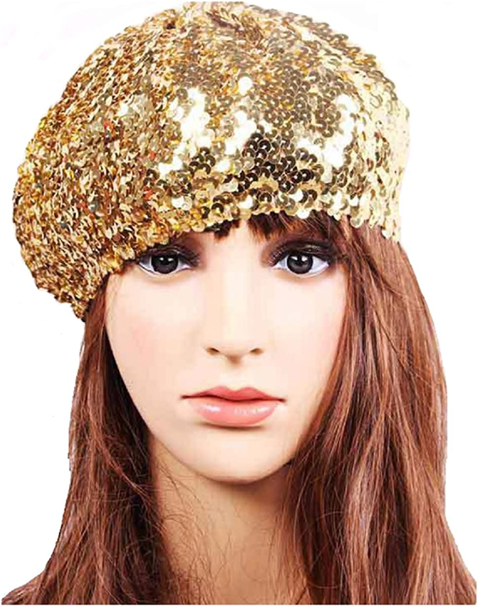 Love My Seamless Women's Stretchy Spangle Sequins Covered Beret Hat