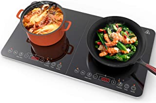 Aobosi Induction Plate,Max and Min available Buttons For Temperature and Power Available With Double Induction Cooker,Keep Warm Function Black Crystal Control Panel,4-Hour Timer,2800W
