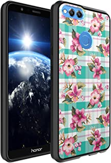 Huawei Honor 7X Case, Capsule-Case Hybrid Slim Hard Back Shield Case with Fused TPU Edge Bumper (Black) for Huawei Honor 7X - (Mint Plaid Roses)
