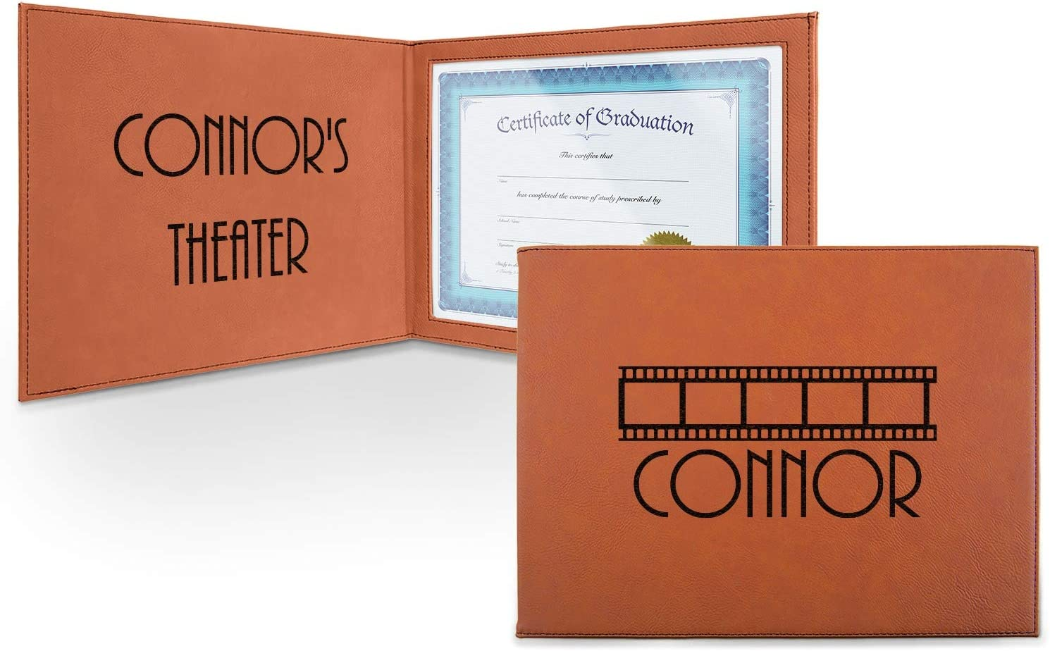 Movie Trust Selling rankings Theater Leatherette Certificate Holder - and Front Inside