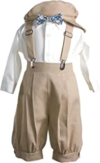Boys Tan Linen Knicker Outfit with Plaid Bow Tie