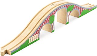 Conductor Carl Wooden Brick Bridge 2-Piece Toy Train Track Accessory Compatible with All Major Toy Train Brands