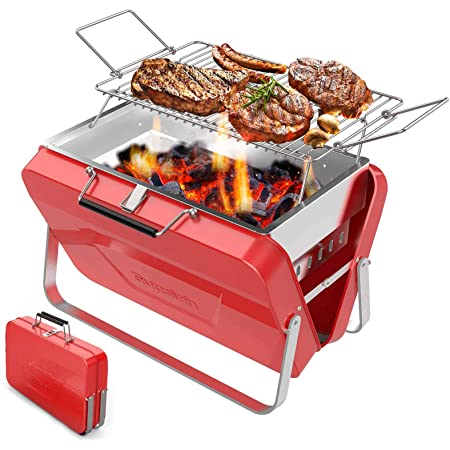 Supsiah Charcoal Barbecue Grill Portable Business Vintage BBQ Grill Suitable for Outdoor Camping, Hiking, Picnic, Backpack, Patio, Backyard, Men Gift(Glossy Red)