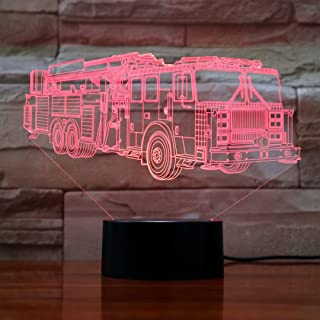 Fire Car LED Night Light 3D Illusion Visual Desk Lamps with 7 Color Changing Lights Touch Button Fire Truck Shape Best Gift for Kids Gifts (Fire Truck)
