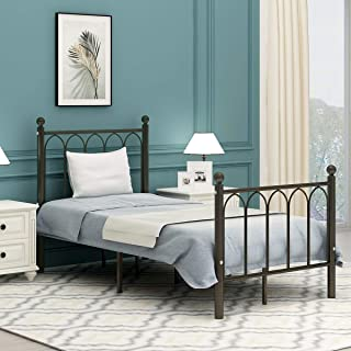 AUFANK Twin Size Metal Bed Frame No Box Spring Needed Mattress Foundation with Headboard and Footboard Premium Steel Slat Support Antique Copper