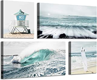 Beach Canvas Wall Art Print: Shoreline Guard & Surfboard Picture Graphic Art Painting for Wall Decor(12''x12''x2panel+24''x12''x2panel)