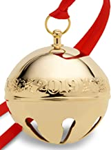 Wallace 2019 Gold-Plate Sleigh Bell-30th Anniversary Edition (Holly & Ornaments) Holiday Ornament, Metal