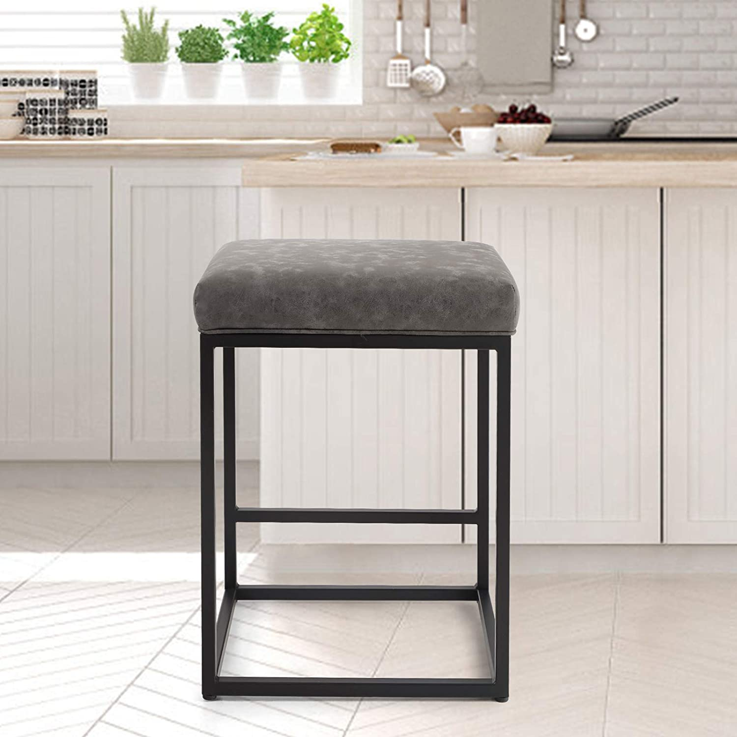 PHI San Jose Mall VILLA Bar Stools Counter 24 Height Inches National products Square Leather