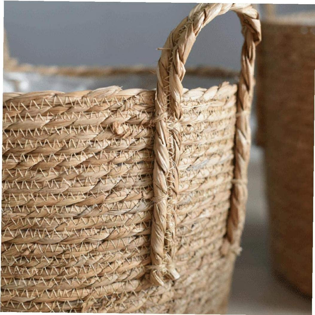 Handmade Woven Flower Pots Laundry Picnic and Grocery Storage Organizer Home Storage Basket 25cm Seagrass Plant Basket with Handle Flower Pot