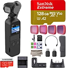 DJI Osmo Pocket Handheld 3 Axis Gimbal Stabilizer with Integrated Camera and DJI Expansion Kit Combo, comes PGY Pro ND Filters, 128GB Extreme Micro SD, Attachable To Smartphone, Android, iPhone