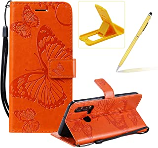 Strap Leather Case for Huawei P20 Lite 2019,Wallet Leather Case for Huawei P20 Lite 2019,Herzzer Premium Stylish Pretty 3D Orange Butterfly Printed Magnetic Soft Rubber Stand Case with Card Slots
