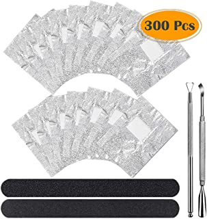 Anezus 300pcs Nail Foil Wraps Gel Polish Remover Wraps Gel Nail Remover Pads Kit with Cuticle Pusher and Cutter Triangle Cuticle Nail Pusher Nail Files for Gel Polish Removal