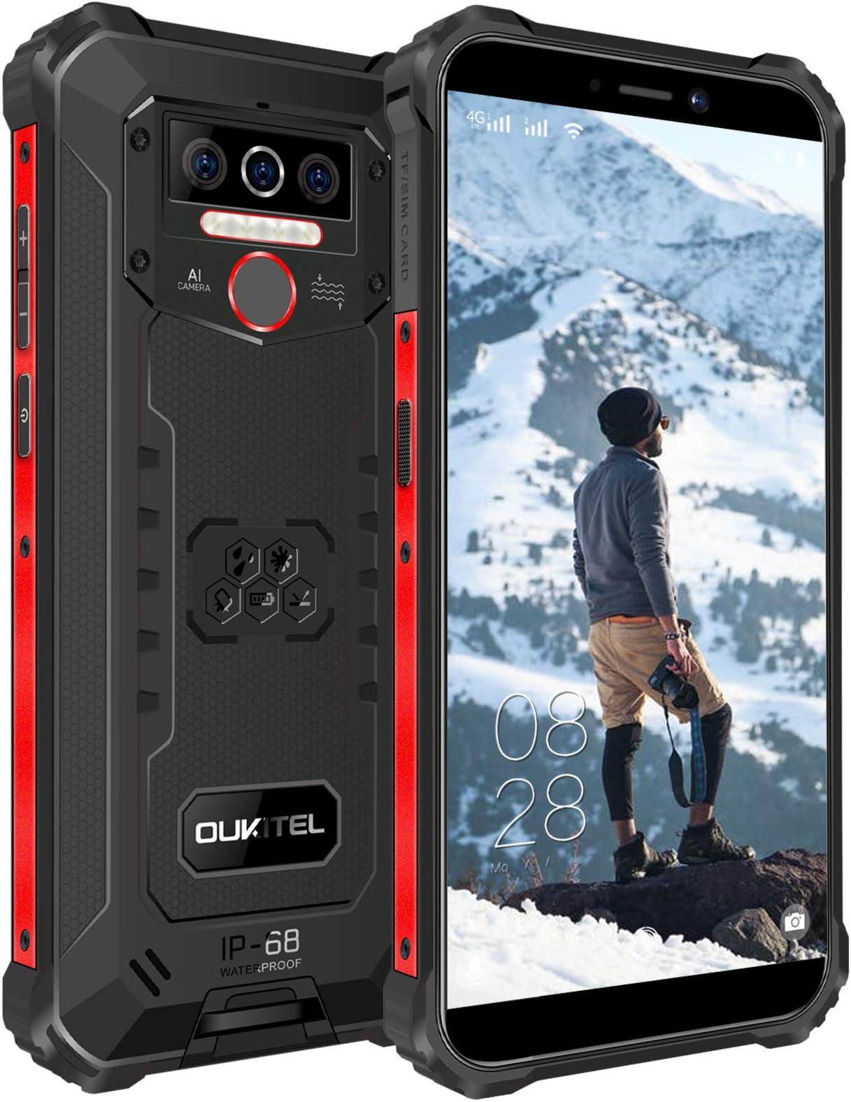 "OUKITEL WP5 Rugged Cell Phone Unlocked, Android 10 Smartphone 8000mAh Battery IP68 Waterproof Rugged Smartphone, 5.5"" HD+ 4GB 32GB Face ID Fingerprint Triple Camera Global Version 4G LTE GSM (Black)"
