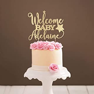 Personalized Star Welcome Baby Cake Topper Baby Shower Cake Topper Gold Glitter Baby Topper Custom Baby Cake Topper