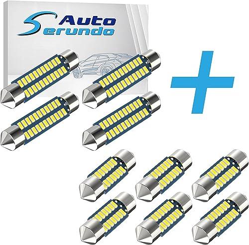 lowest Serundo Auto 4pcs 42mm popular 578 LED Bulbs + 6pcs DE3175 Led Car Bulb 31mm 1.22in discount Led Festoon Bulb… sale