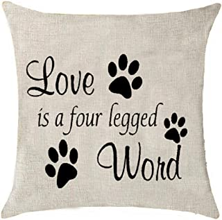 love is a four legged word pillow