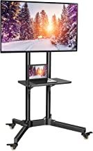 TV Cart with Wheels for 32-65 Inch LCD LED Plasma Flat Panel TVs- Height Adjustable TV Stand Hold up to 132lbs- Monitor Holder with Tray Max VESA 600x400