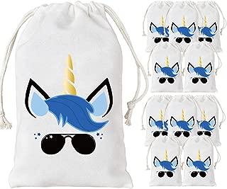 JOYMEMO Unicorn Bags for Boys, 12 Party Favor Bags Cotton Drawstring Bag 5 x 8 inches, Treat Goodie Bag for Unicorn Birthday Party Supplies