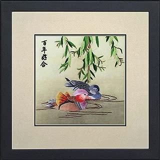 Silk Art 100% Handmade Embroidery Framed Mandarin ducks playing in the water Painting Gift Oriental Asian Wall Art D¨¦cor Artwork SilkArt017