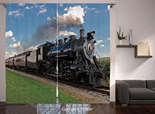 Thermal Insulated Blackout Window Curtain [ Steam Engine,Vintage Locomotive in Countryside Scenery Green Grass Puff Train Picture,Blue Green Black ] for Living Room Bedroom Dorm Room Classroom Kitchen