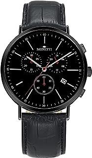 Reloj cronógrafo de Hombre - Quartz Classic con Esfera Negra, Correa de Cuero Negro y Fecha en la Caja de Regalo.