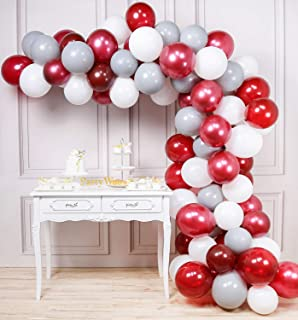 PartyWoo Burgundy Gray White Balloons 80 pcs Balloon Pack 12'' Burgundy Balloons Wine Red Balloons Gray Balloons White Balloons for Burgundy Baby Shower Decorations, Gray Wedding Decorations