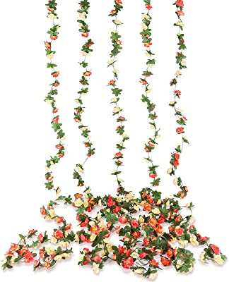 Beferr 5 Pièces Guirlandes de Fleurs Roses Artificielles Deco, Soie Vigne de Fleurs Artificielle Suspendue pour Décoration de Mariage à la Maison, Fête, Arches, Jardin (Champagne)
