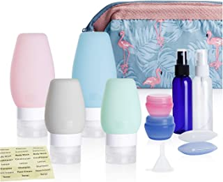 Nipoo Silicone Travel Bottles TSA Approved Leak Proof with Labels and Toiletry Bag, 11 Pcs Travel Size Containers Accessories for Toiletries Shampoo Conditioner and Other Liquid (2/3 OZ)