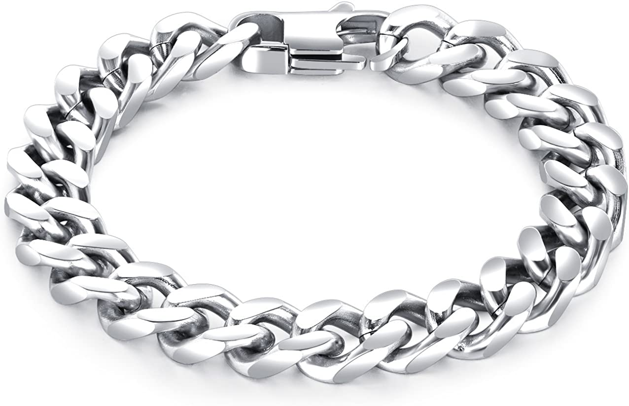 LineAve Men's Stainless Inexpensive Steel 10mm Curb Don't miss the campaign Chain Bracelet Wide 7-8