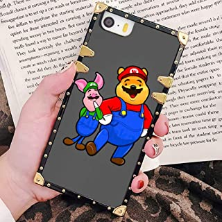 DISNEY COLLECTION Square Edge Phone Case Compatible iPhone 5 (2012) | iPhone 5S (2013) | iPhone SE (2016) [5.5inch] Winnie The Pooh and The Piglet