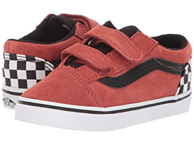 Vans Kids Old Skool V (Infant/Toddler) ((Suede) Redwood/Black) Boy