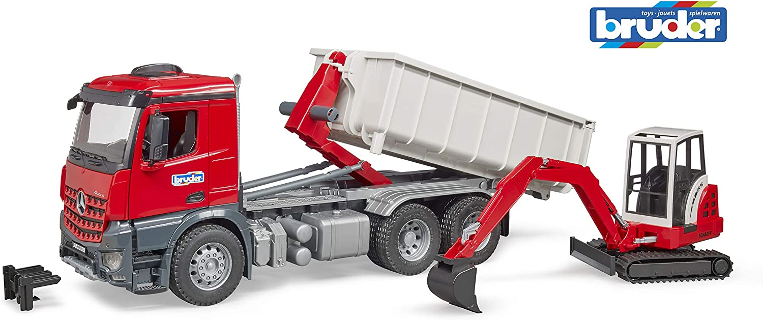 Bruder Toys Mb Arocs Truck with RollOff Container and Schaeff Mini Excavator