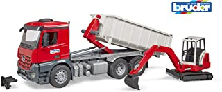 bruder 03624 Mb Arocs Truck with Roll-Off- Container and Schaeff Mini Excavator