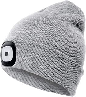 UVER LED Beanie Hat with Light, USB Rechargeable Hands Free 4 Upgraded LED Headlamp Cap, Gift Winter Warmer Knit Hat with ...