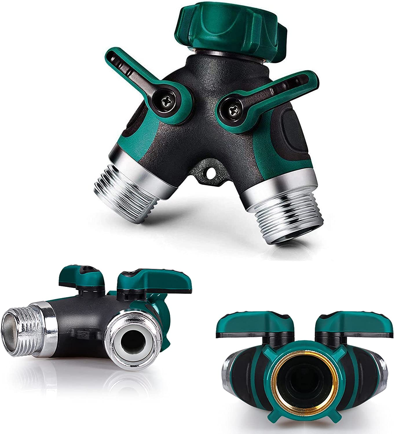 PinPon Graden Hose Splitter 2 Way Heavy Duty, Y Valve Hose Connnector Adapter, Pipe Spigot Adapter with 2 Valves for Outdoors and Indoors