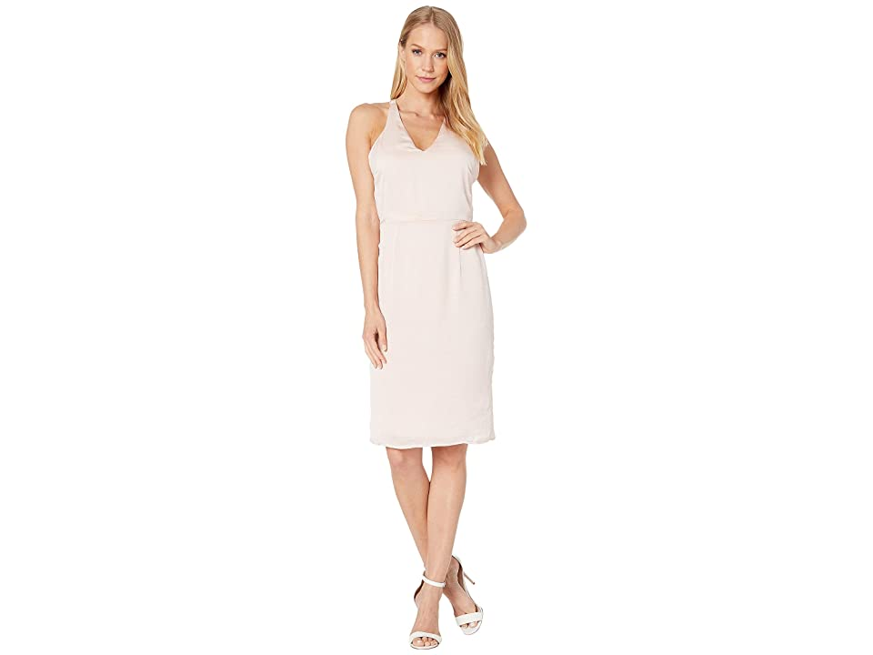Bebe Sexy Sparkle Rhinestone Halter Dress (Peach Whip) Women