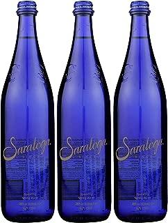 Saratoga Sparkling Spring Water, 28oz Cobalt Blue Glass Bottle (Pack of 3, Total of 84 Fl Oz)