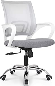 NEO CHAIR Office Chair Computer Desk Chair Gaming - Ergonomic Mid Back Cushion Lumbar Support with Wheels Comfortable Gray Mesh Racing Seat Adjustable Swivel Rolling Home Executive