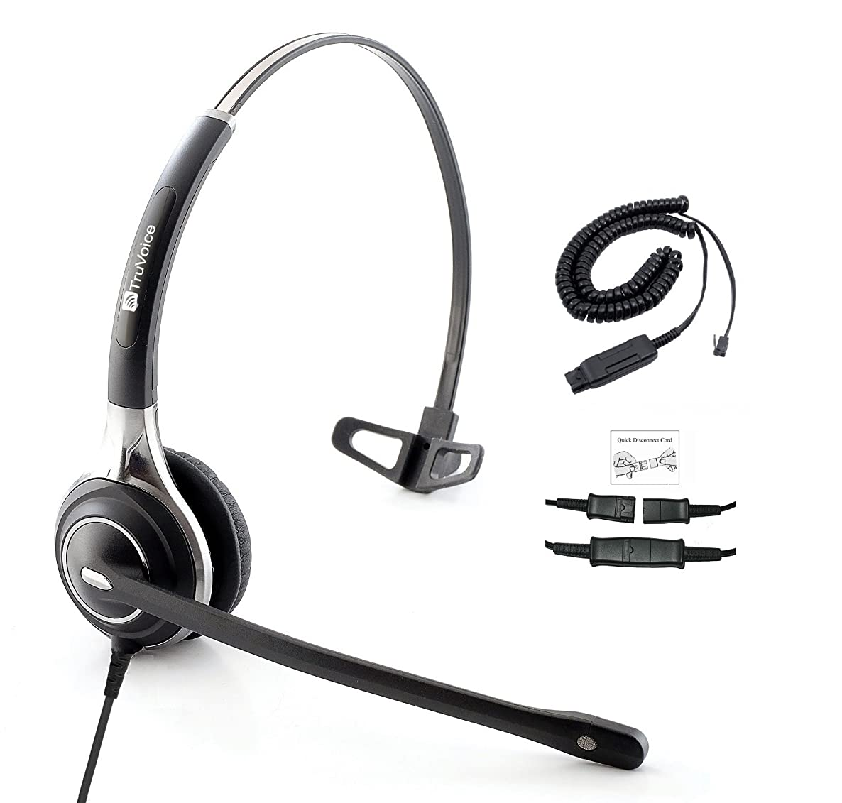 Premium Single Ear Headset with Ultra Noise Canceling MIC & HIS Cable for Avaya IP 1608, 1616, 9601, 9608, 9611, 9611G, 9620, 9621, 9630, 9631, 9640, 9641, 9650, 9670, J139, J169 and J179 Phones