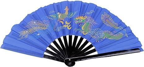 Aship Dragon & Phoenix Bamboo Chinese Martial Arts Fighting Fan Single Sided - Tai Chi Kung Fu Fan/Karate Fans/Chinese Kung Fu Fighting Fans/Wushu Fan for Performance Dance - Blue 13.39